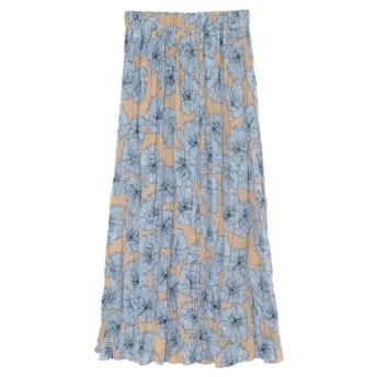 Re: EDIT 大花柄クリンクルプリーツスカート ブルー