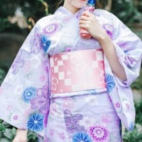 浴衣 レディース 7点セット パープル ブルー 紫 水色 花柄 菊 レトロ 綺麗め 上品 浴衣セット お祭り 花火大会