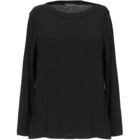 《セール開催中》LAURA URBINATI レディース T シャツ ブラック 42 レーヨン 79% / カシミヤ 14% / ポリウレタン 7%