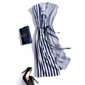 レディース ワンピース 『上品』 ノースリーブ ストライプ ベルト付き ワンピース 大きいサイズ 大結婚式 40代 ファッション 50代