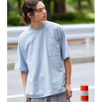 ジュンレッド/ステッチシャーベットカラーT-shirt/サックス/S