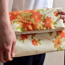 【kimono】着物リメイク 橙色花々 クラッチバッグ