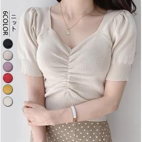 韓国ファッション 夏物 新作 無地 ブラウス ニット着やせ シャツ レディース オシャレ