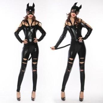 黒猫 キャット セクシー系 ハロウィン パーティー 仮装 コスプレ 忘年会 新年会 クリスマス ロング丈  お呼ばれ 大人かわいい ワンピース