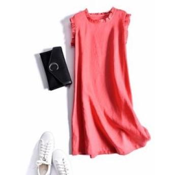 レディース ワンピース 『上品』 ノースリーブ フリル 無地 リネン ワンピース 大きいサイズ 大結婚式 40代 ファッション 50代