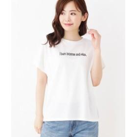 (grove/グローブ)【洗える】発泡シンプルロゴプリントTシャツ/レディース オフホワイト(003)