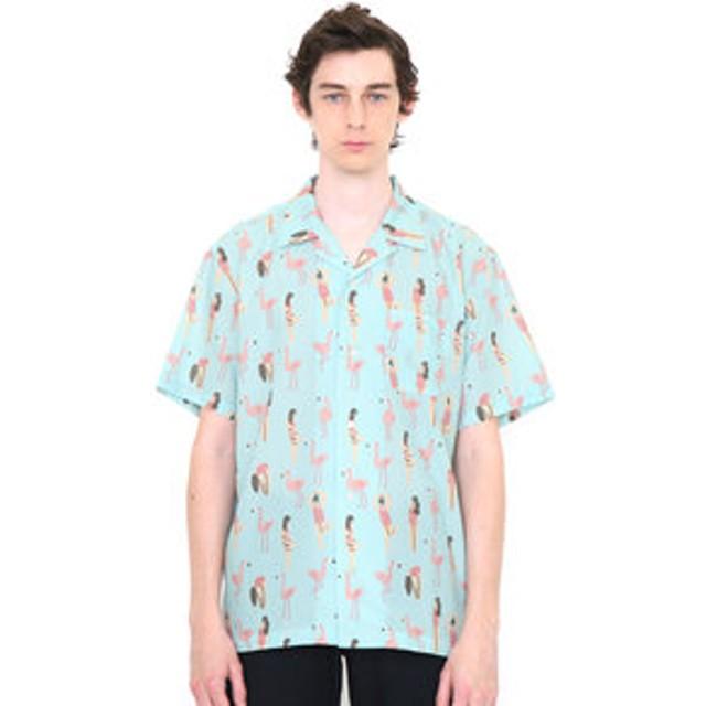 【グラニフ:トップス】シャツ/ピンクフラミンゴライフ(サラマエスオープンカラーショートスリーブシャツ)
