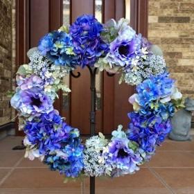 No. wreath-15026/アジサイのリース(パープル&ブルー大)/40cm/アーティフィシャルフラワー造花