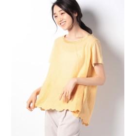 ラナン 裾スカラップ刺しゅうTシャツ レディース イエロー M 【Ranan】