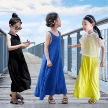 ワンピース ノースリーブ 女の子 子供服 ガールズ ジュニア キッズ 無地 可愛い 夏 子ども服 お出かけ 100 110 12
