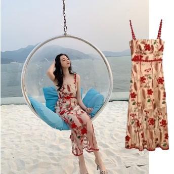 [55555SHOP] ◆INS 話題 韓国ファッション◆ 気質修身 花柄 ワンピース 気質可愛い/レディス 高級でセクシーなドレス パーティードレス フォーマルドレス ファッション リゾートワンピ