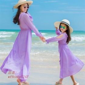 夏 親子ペアルック ワンピース エスニック リゾート 子供用 南国風 海旅行 女の子用 ビーチ ハワイ風 ボヘミアン ママ用 リゾートワンピ