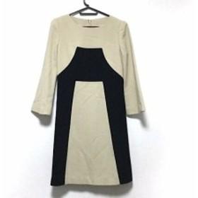 ジュンアシダ JUN ASHIDA ワンピース サイズ7 S レディース 美品 ベージュ×黒 肩パッド【中古】