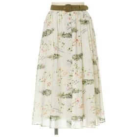 F i.n.t 南フランス柄ベルト付きギャザースカート ベージュ×グリーン