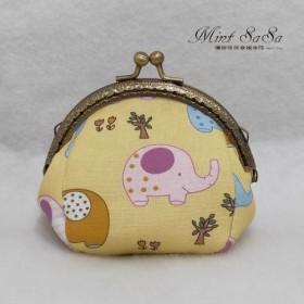 MintSaSa イエローボトム象口ゴールド財布口ゴールドバッグかわいいスタイル動物レトロ風布布綿収納袋クラシック風布用手縫い
