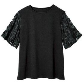 ラナン 袖レースリップル素材Tシャツ レディース ブラック M 【Ranan】