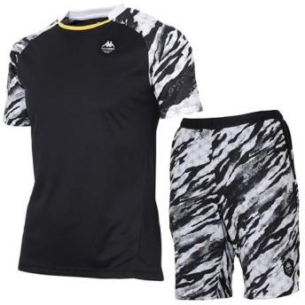 カッパ(kappa) メンズ サッカー プラクティスシャツ&ハーフパンツ KF912TS25 BK1/KF912SP21 BK1 サッカーウェア フットサル 半袖 短パン スポーツウェア