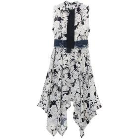 CINOH フラワーパターン ドレープドレス ワンピース,ネイビー