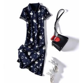 レディース ワンピース 『上品』 半袖 プリント シャツ 綿 ワンピース 大きいサイズ 大結婚式 40代 ファッション 50代