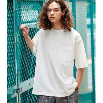 ジュンレッド/ステッチシャーベットカラーT-shirt/ホワイト/S