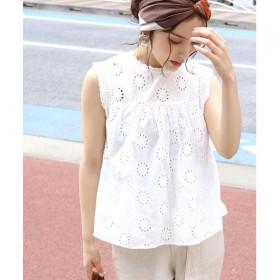 コカ coca 刺繍レースノースリーブコットンブラウス (White)