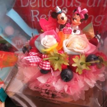 バースデープレゼント 友達 彼女 ディズニー 花 レインボーローズ フラワーケーキ プリザーブドフラワー入り ケース付き 誕生日