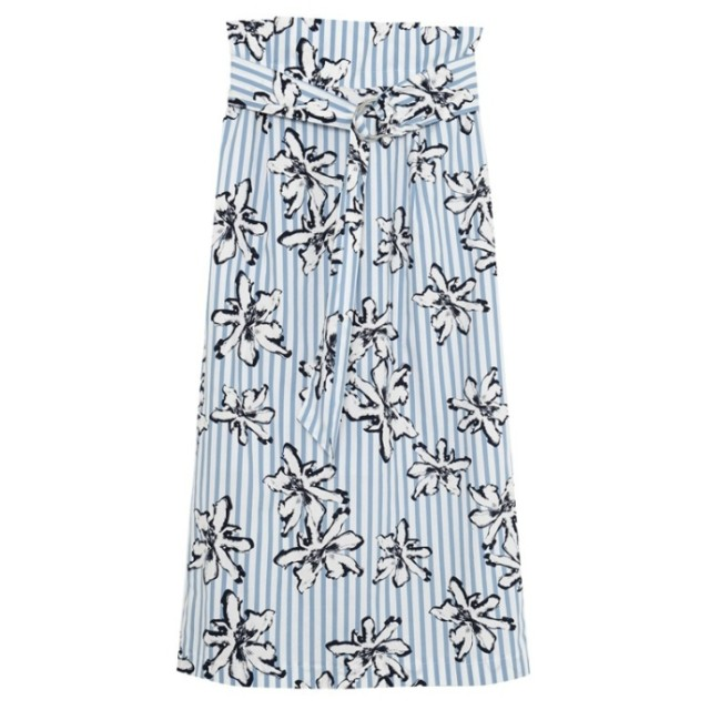 Re: EDIT 綿ブロード白花ストライプスカート サックス