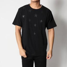 スタイルブロック STYLEBLOCK ボディー同色スター星柄NIPPONプリント半袖Tシャツカットソー (ブラック)