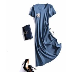 レディース ワンピース 『上品』 半袖 無地 ハート 綿 ワンピース 大きいサイズ 大結婚式 40代 ファッション 50代