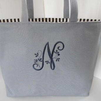 A4サイズ選べるヴィンテージイニシャル刺繍の帆布のトートバッグ グレー