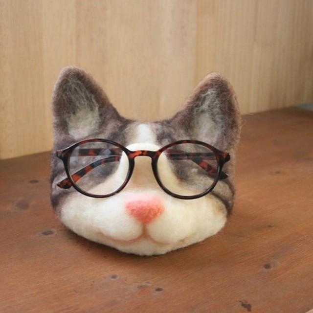 めがね置き猫【キジトラ】こいも