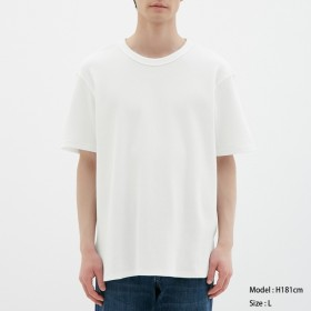 (GU)ワッフルクルーネックT(半袖) WHITE S