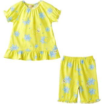 ミキハウス 【アウトレット】お花プリント うさこ半袖パジャマ(6分丈パンツ) 黄