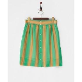 ADAM ET ROPE' グリーン/オレンジ にじみストライプスカート○GAC0419 30 グリーン スカート