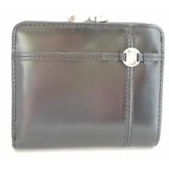 アニエスベー agnes b 2つ折り財布 レディース 黒 がま口 レザー【中古】
