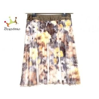 ジユウク スカート サイズ38 M レディース ダークブラウン×イエロー×マルチ 花柄/プリーツ スペシャル特価 20190902