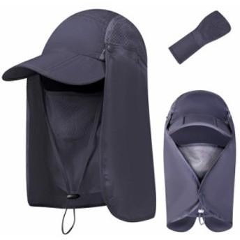 釣りハット 日よけ帽子 360度 UVカット 日焼け防止 メッシュ素材 通気性 折りたたみ キャップ 紫外線対策超軽量 日よけカバー 登山 釣り