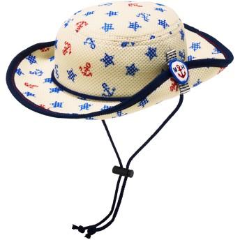 ミキハウス 【アウトレット】日よけフラップ付き ダブルラッセル総柄テンガロンハット(帽子) ブルー