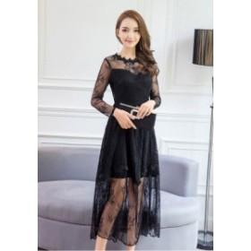 上品なワンピースドレス 立体的な襟元 エレガントな仕立て