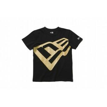 【ニューエラ公式】キッズ コットン Tシャツ ズームアップ フラッグロゴ ブラック × ゴールド 男の子 女の子 140 半袖 Tシャツ 11901438 NEW ERA