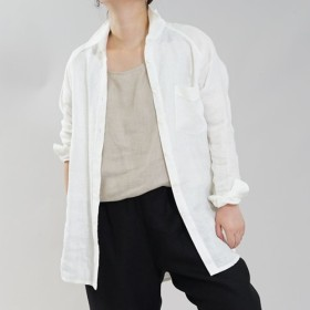 【wafu】中厚 リネン シャツ Wガーゼ メンズライク 白シャツ 長袖 / オフホワイト t035b-owh2