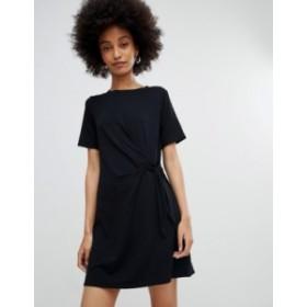 ニュールック レディース ワンピース トップス New Look Black Ruched Side Jersey Tunic Dress Black