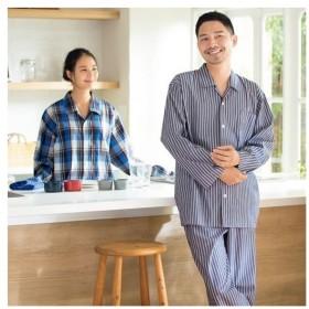 綿100%シャツパジャマ(男女兼用) M L LL|7961-868991