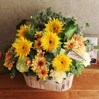 【日比谷花壇】【お供え用】O・SO・NA・E flower 「7月のウッドボックスアレンジメント」