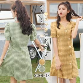 2019夏 今年流行チェックワンピース 韓国ファッション 半袖 とVネックワンピース レディース 可愛いワンピース