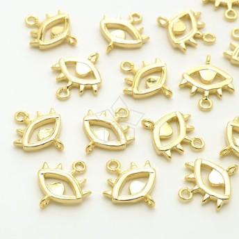 【2個入り】両カン!ボヘミアン イーブルアイ 目のシンボル ゴールドコネクタ、チャーム、パーツ/PD-3166-GD