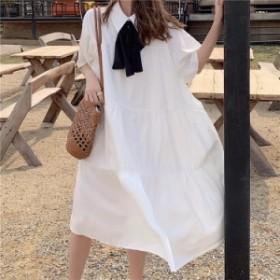 ロングシャツワンピース 白 ワンピース ロング ひざ丈 袖あり 白 黒 20代 30代 40代 リボン ワンピース ゆったり 春夏 清楚 ワンピース
