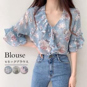 韓国ファッション 可愛い 花柄 レディース レース ラグラン カットソー Tシャツ 袖切替 半袖 トップス レディース