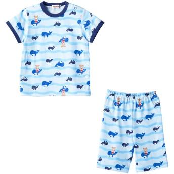 ミキハウス 【アウトレット】くじら&プッチー 半袖パジャマ(6分丈パンツ) ブルー