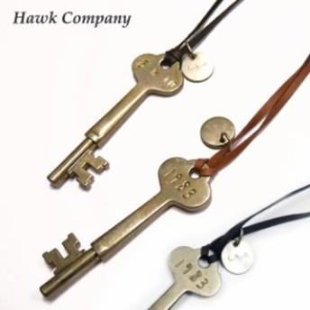 ホークカンパニー HAWK COMPANY ネックレス 鍵 キー レザー チョーカー アンティーク風 hawk5106
